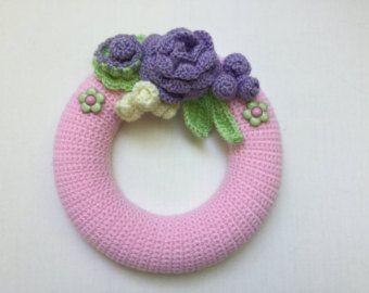 Photo of Poinsettia wreath, small flower wreath,Christmas wreath, small crochet wreath, door decor, Christmas gift