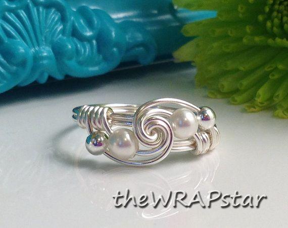 Weiße Perle Ring Draht gewickelt Schmuck handgefertigt Ring ...