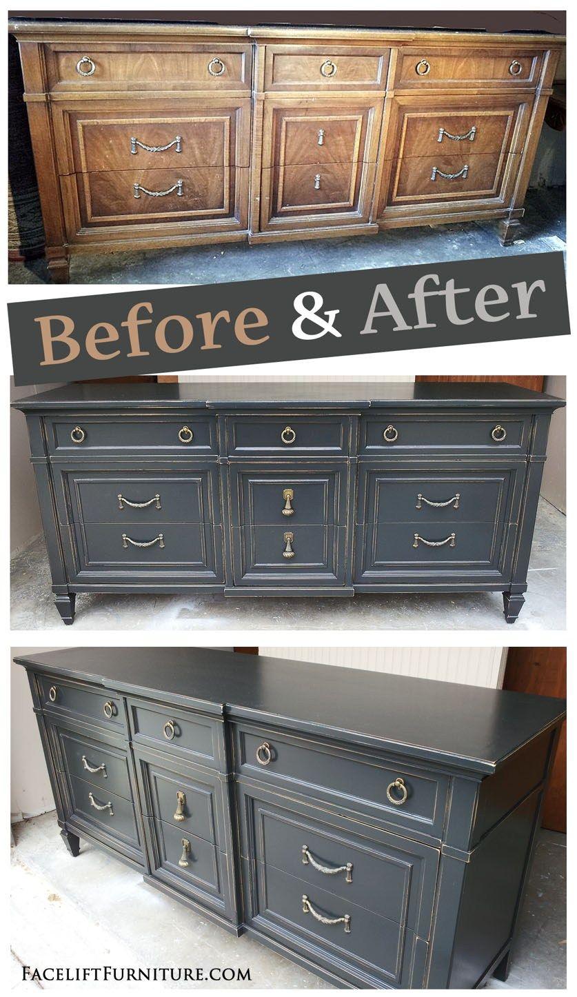 Charmant Distressed Black Dresser   Before And After From Facelift Furnitureu0027s DIY  Blog