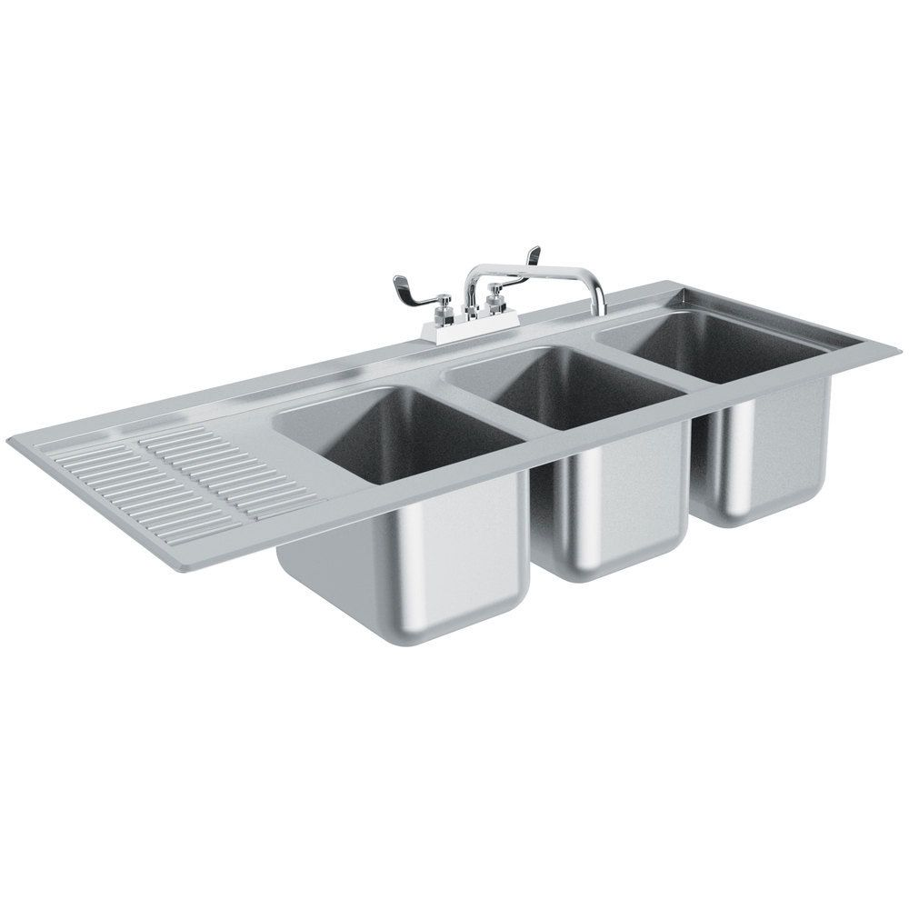 Advance Tabco Dbs 43r Three Compartment Stainless Steel Drop In Bar Sink With 12 Drainboard 48 X 20 Right Side Sink Bar Sink Sink Sink Design