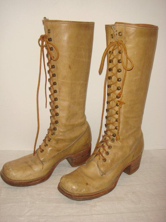 125b0af27 1960s 1970s Frye Leather Campus Lace Up Boots / 60s 70s Frye Banana Leather Black  Label