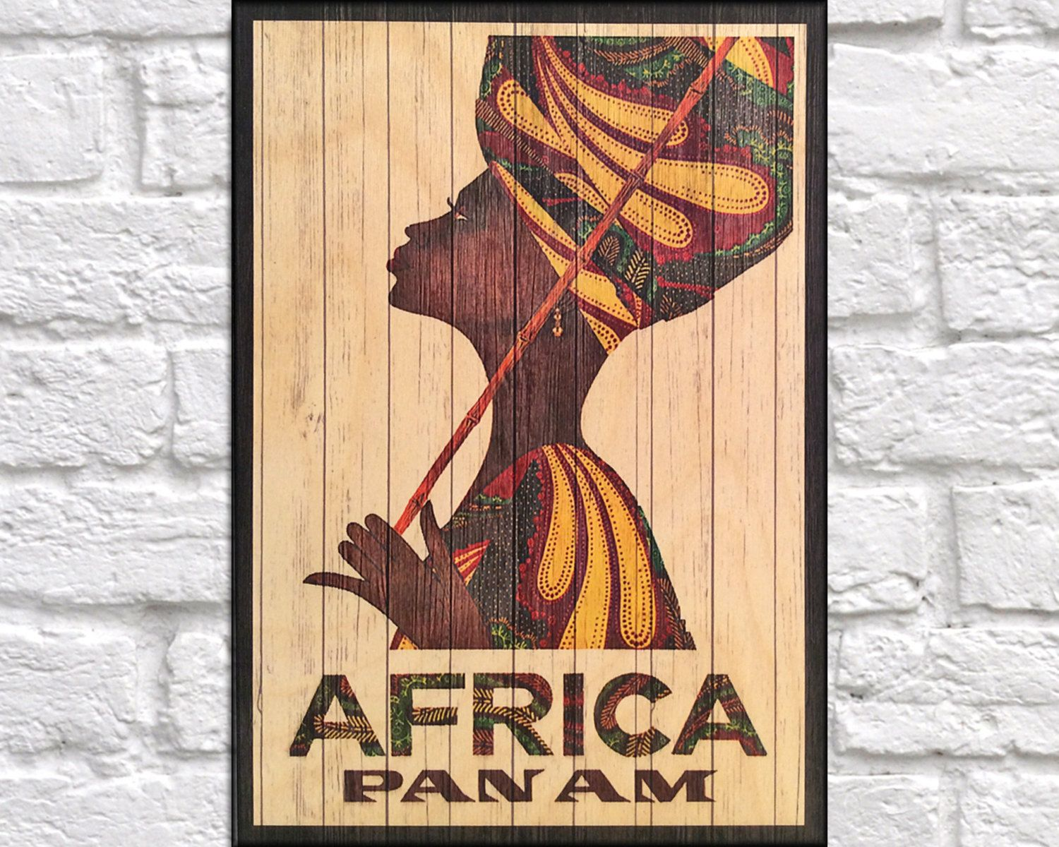 African Travel Poster Wood wall art decor Retro Travel Poster Gift ...