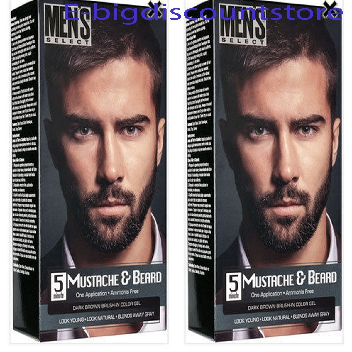 2X Men\'s Select Mustache & Beard Hair Dark Brown Brush-In Color Dye ...