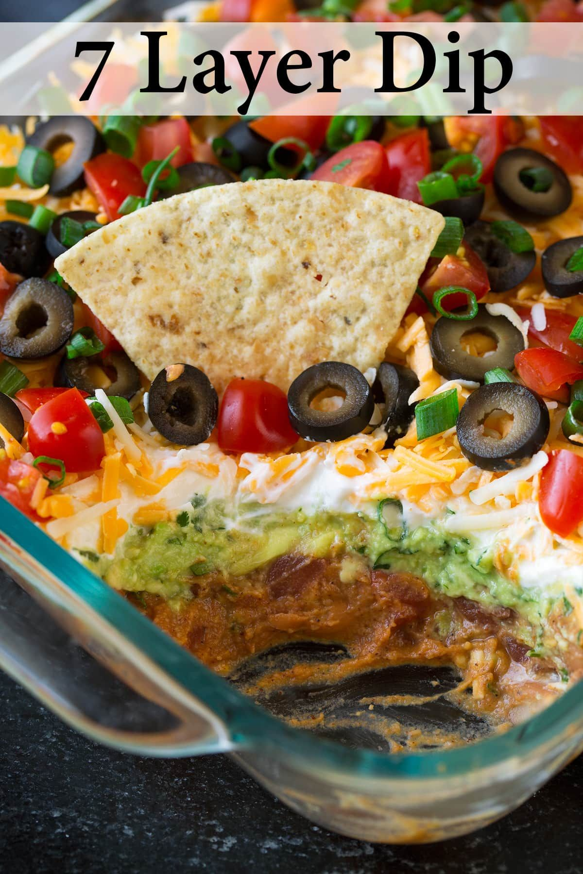 The Best 7 Layer Dip Made With Seasoned Refried Beans Guacamole Sour Cream Cheese Olives Tomatoes And Gree Cookout Food Bean Dip Recipes Layered Bean Dip