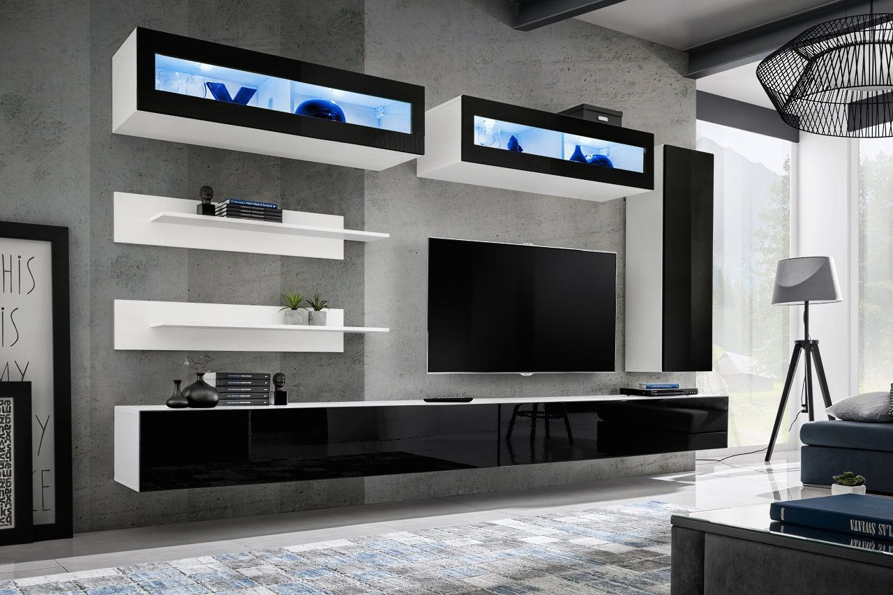 Meuble Tv Mural Bois Clair Et Blanc Laque Rimini In 2020 Tv