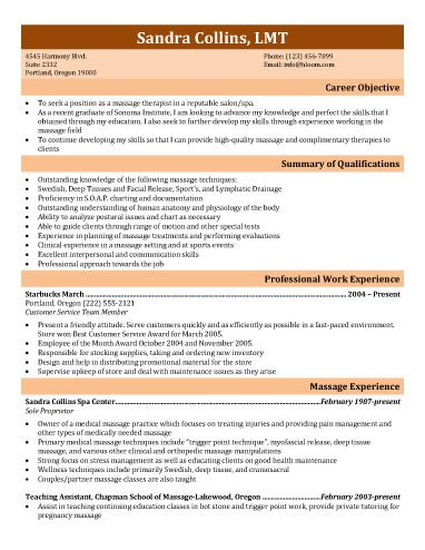 Recent Graduate Massage Therapist  Resume Recent Graduate