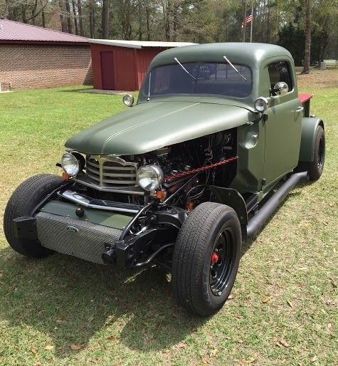 1951 Ford Rat Rod Pick Up Truck Flat Green 327 Small Journal Chevy
