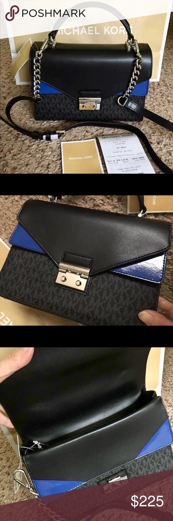 fb83d153de611a Michael Kors Sloan Logo Medium Double Flap Satchel Michael Kors Sloan Logo  & Leather Medium Double Flap Top Handle Satchel (Black/Electric Blue / Logo  ...