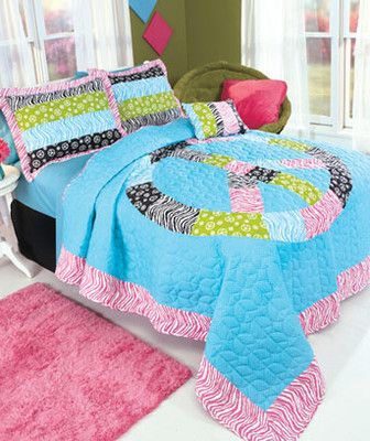 New Girls Twin Size Peace Zebra Print Quilt And Sham