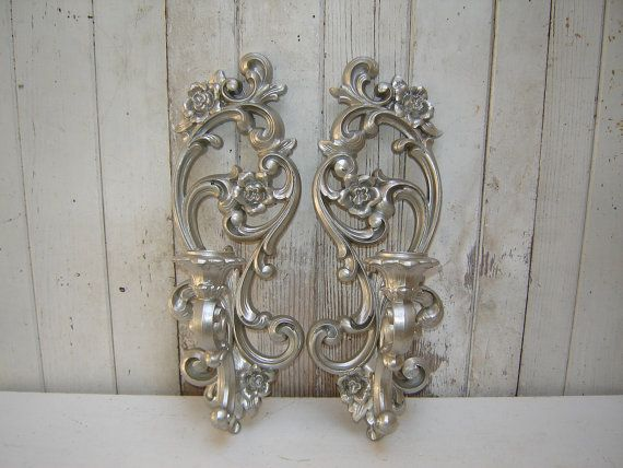 ornate candle wall sconces 2 painted silver candle holders wall sconces silver candle. Black Bedroom Furniture Sets. Home Design Ideas