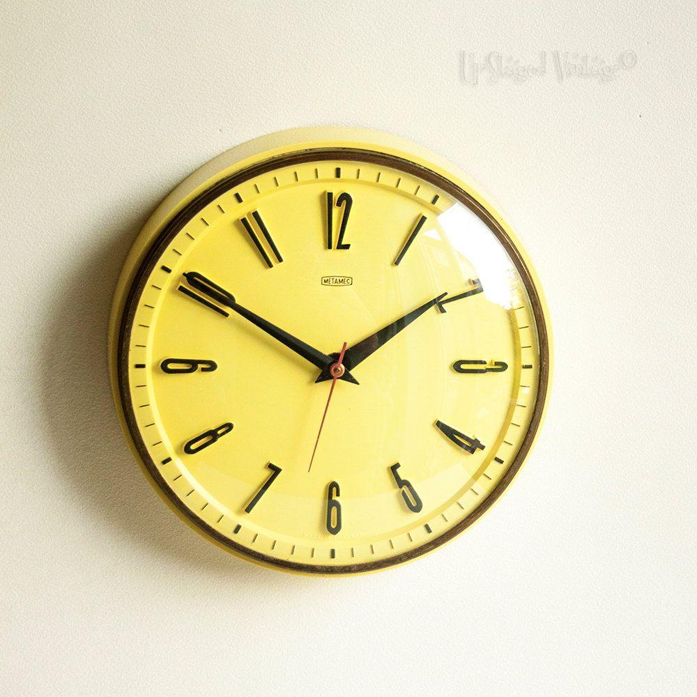 Vintage Retro 1960s Metamec Lemon Yellow Wall Clock