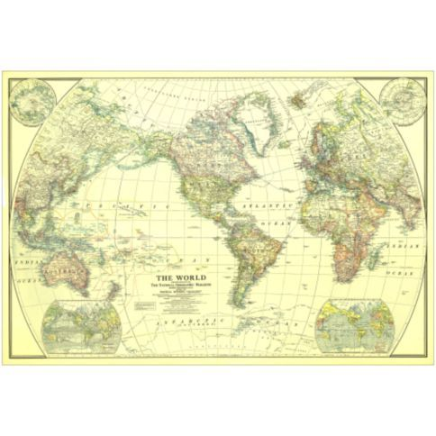 beach house world map 1922 stretched canvas wrapped print large for over fireplace