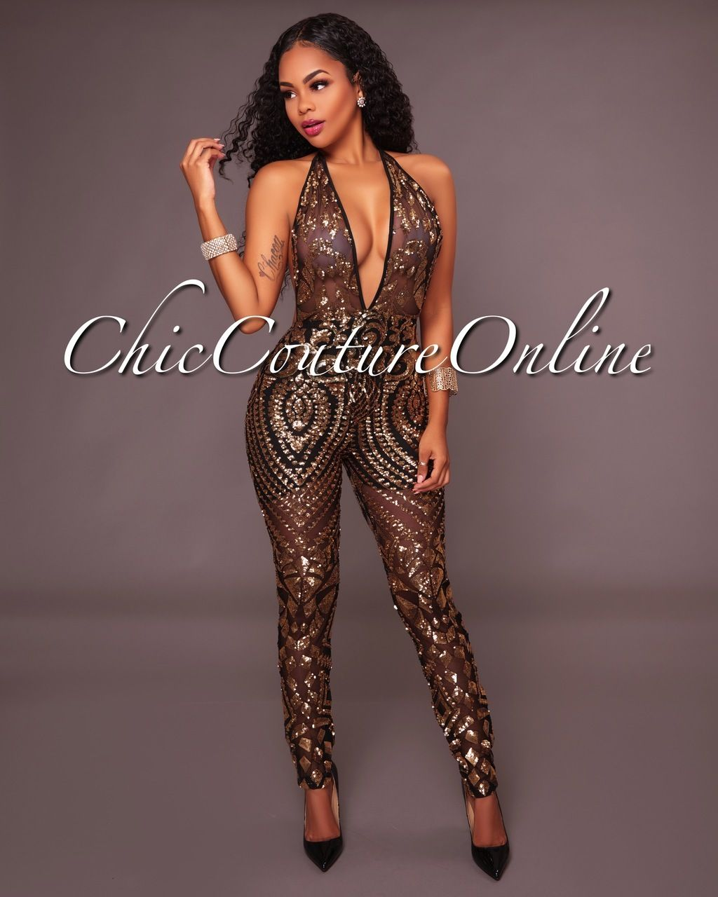 2cb4b188436 Chic Couture Online - Annalise Black Gold Sequin Deep V Jumpsuit