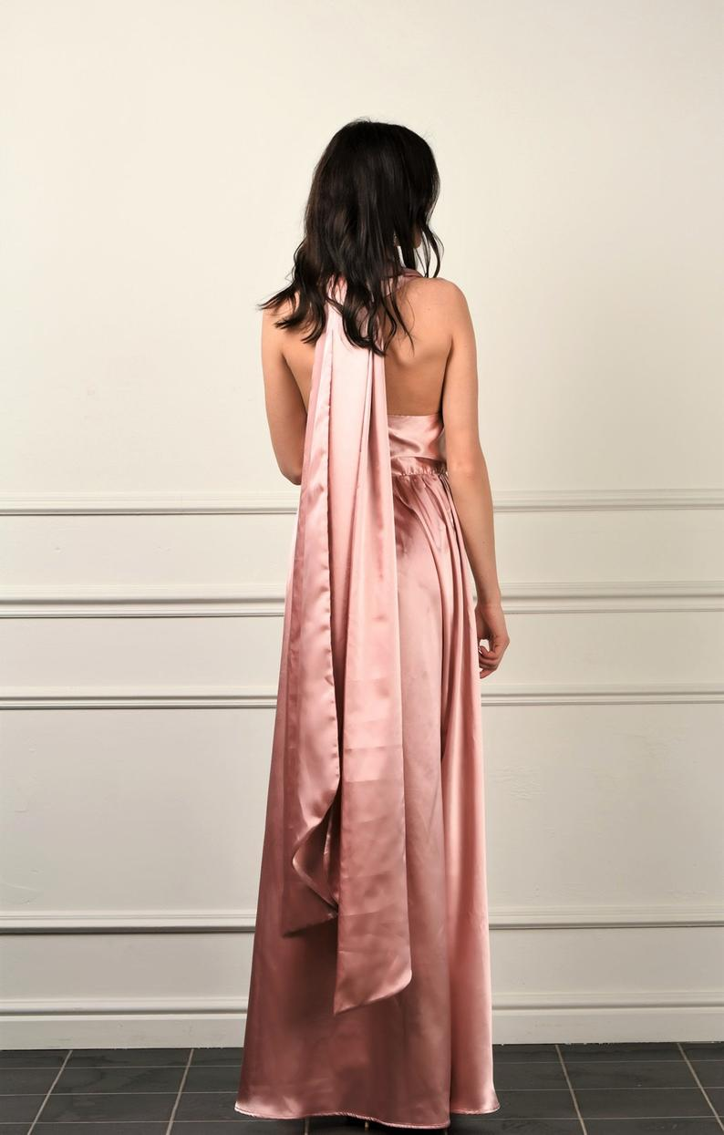 Rose Satin Maxi Dress/ Top Convertible A- Line Dress / Satin Bridesmaid Party dress