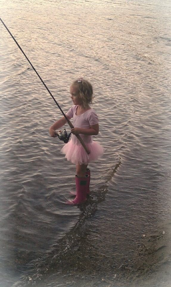 Ballerina fishing. Too cute! This will be my little tom-boy princess.