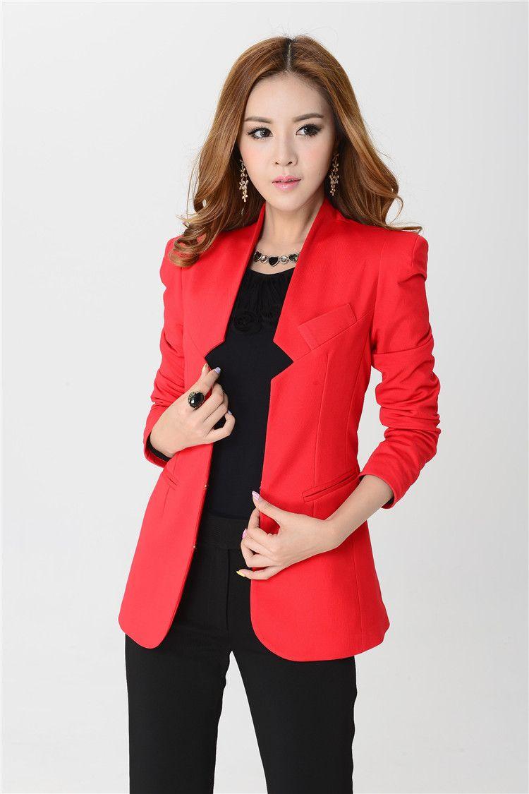 Nuevo 2015 otou00f1o e invierno Red Blazer mujeres juegos de bragas conjuntos para mujer trajes de ...