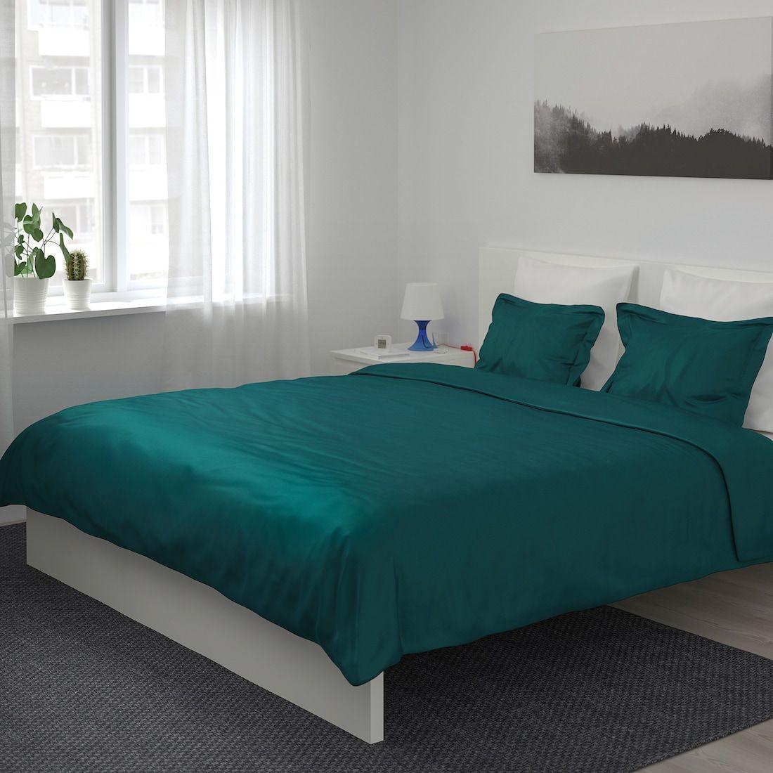 Luktjasmin Duvet Cover And Pillowcase S Dark Green Full Queen Double Queen Ikea In 2020 Green Duvet Covers Green Bedding Green Duvet