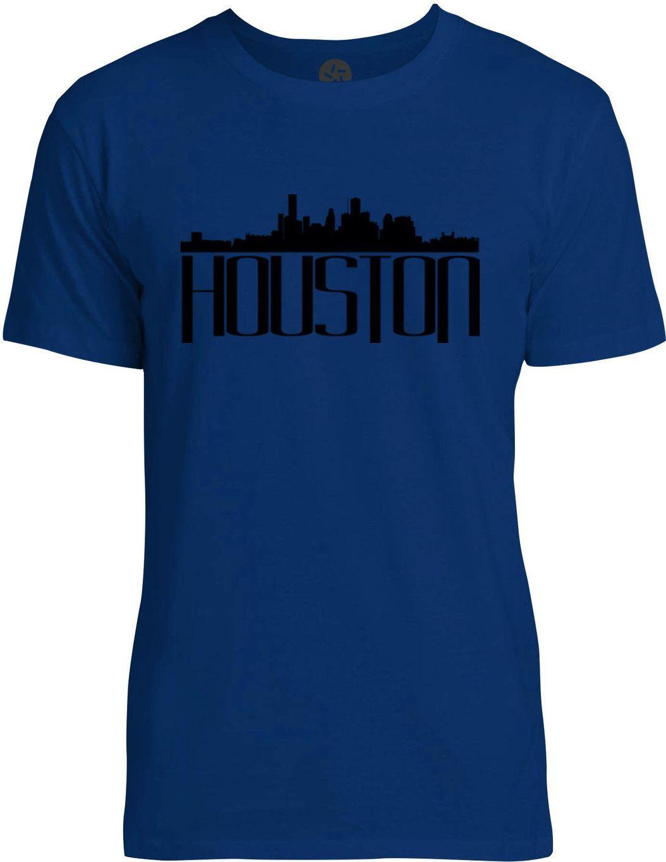 Houston Skyline (Black) Mens Fine Jersey T-Shirt