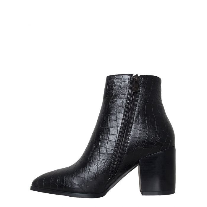 05cbf04061497 Anya Black Croc Block Heel Ankle Boots in 2019 | shnazzy shoes ...