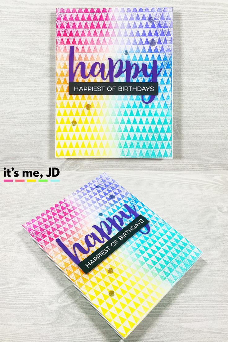 Ink Blended Rainbow Triangle Happy Birthday Gina K Inks Card