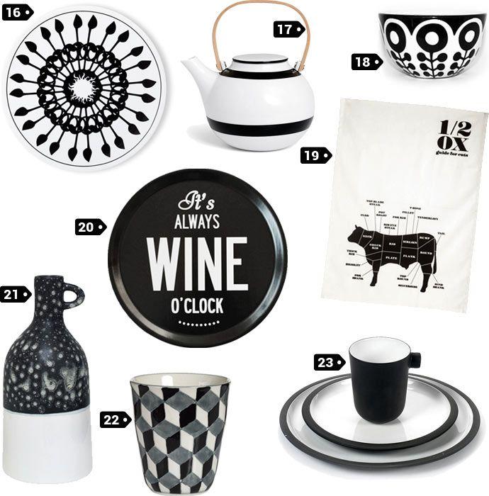 wishlist objets dco design noir et blanc pour la cuisine frjor hkliving