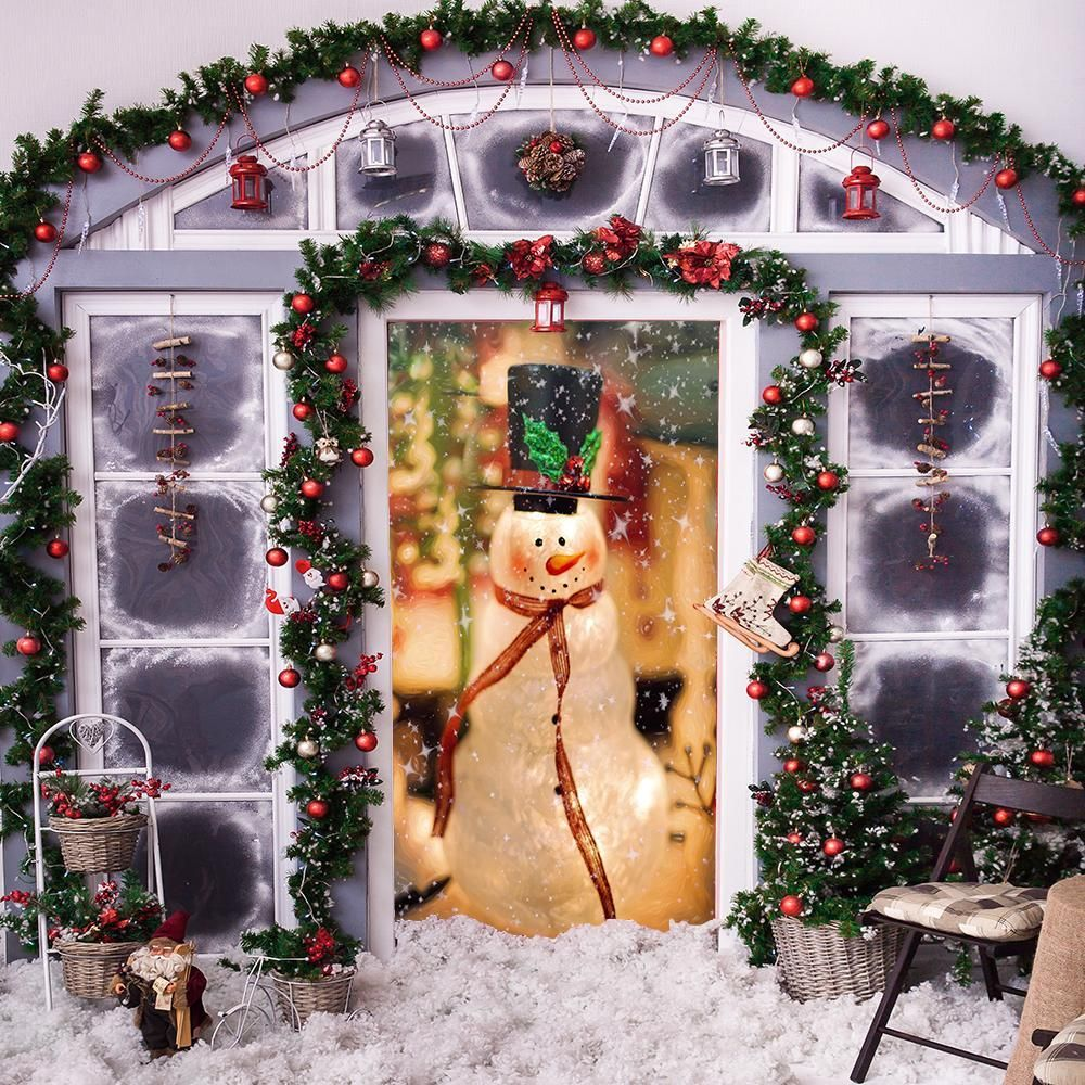 Christmas Snowman Door Cover Cover Holiday Christmas Door: Decorative Door Cover - Festive Snowman