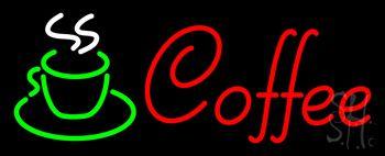Red Cursive Coffee Logo Neon Sign