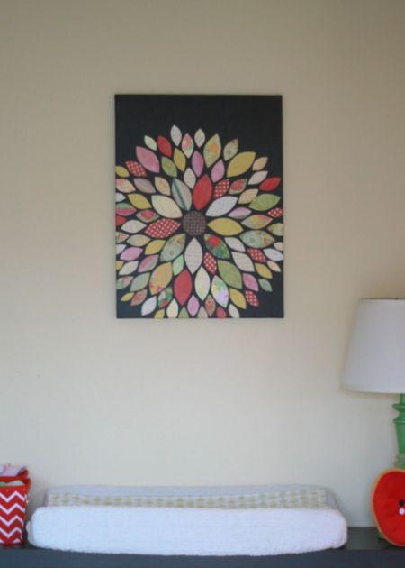 diy wall art - flower (scrapbook paper + canvas)   For the ...