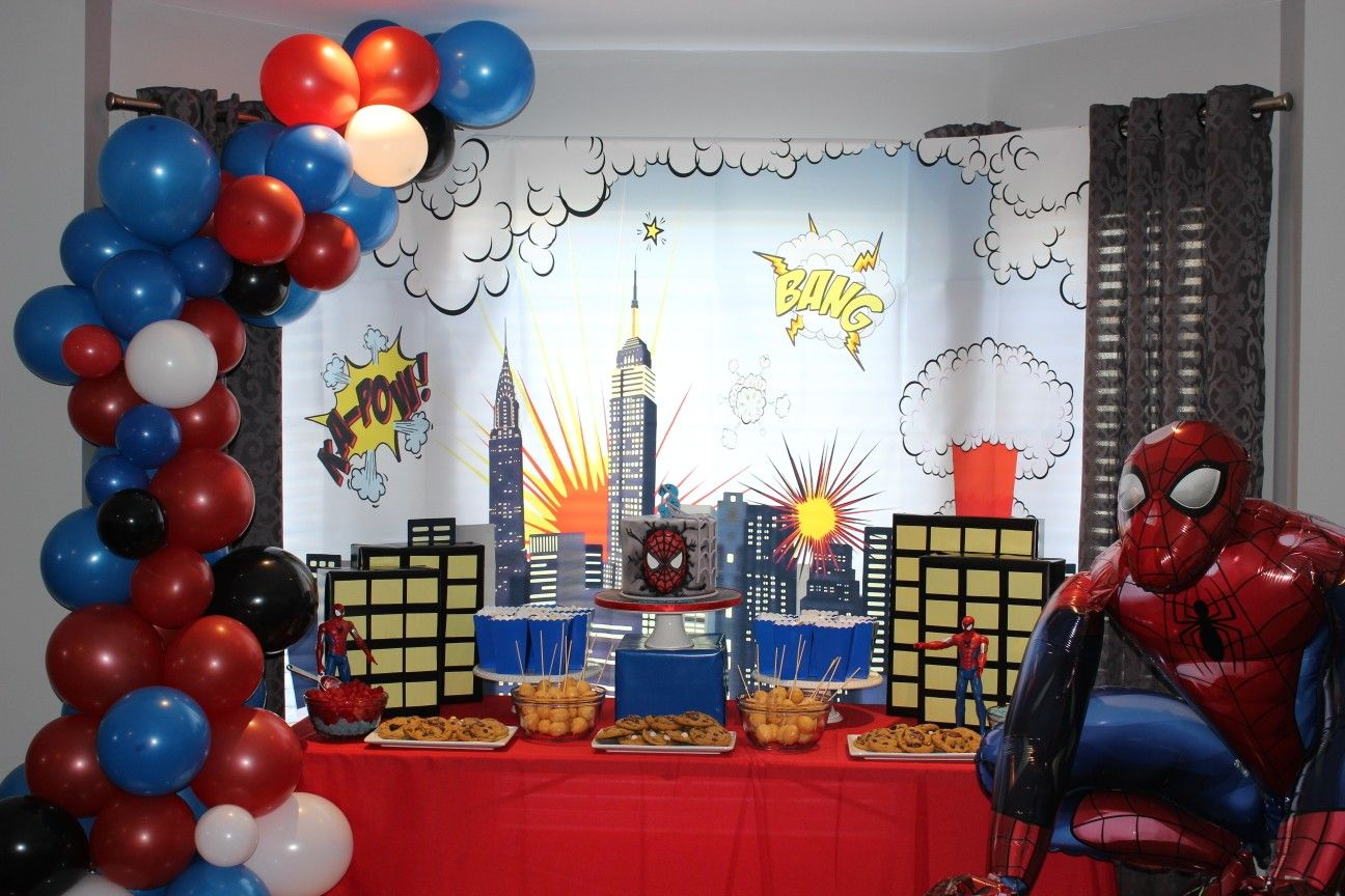 Decorations Decor Banner Balloons Set Backdrop For Boy Spiderman Birthday Party Supplies 3rd