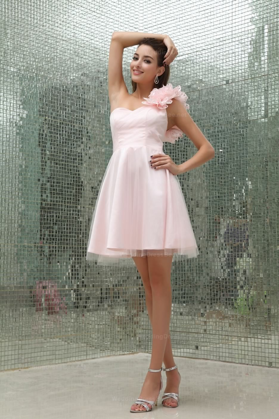 One shoulder full aline organza short length prom dress with hand