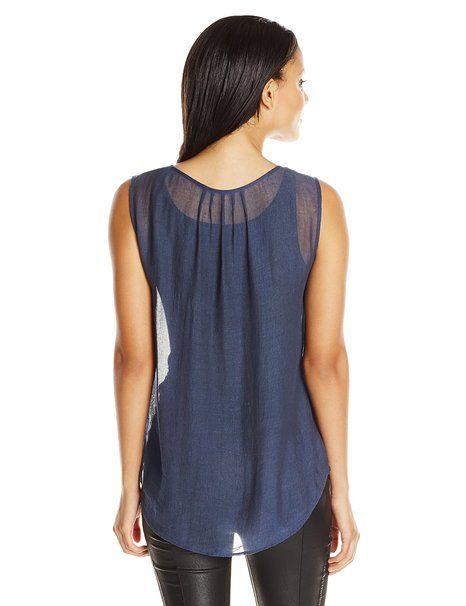 Amazon.com: BCBGMAXAZRIA Women's Nettie Sleeveless Pleated Bib Blouse: Clothing