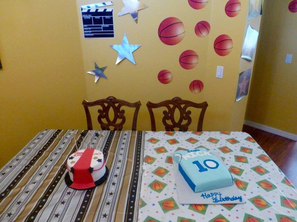Twins cake. Red carpet cake, and basketball cake