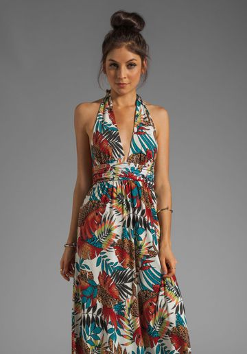 T Bags Losangeles Halter Maxi Dress In Leaves