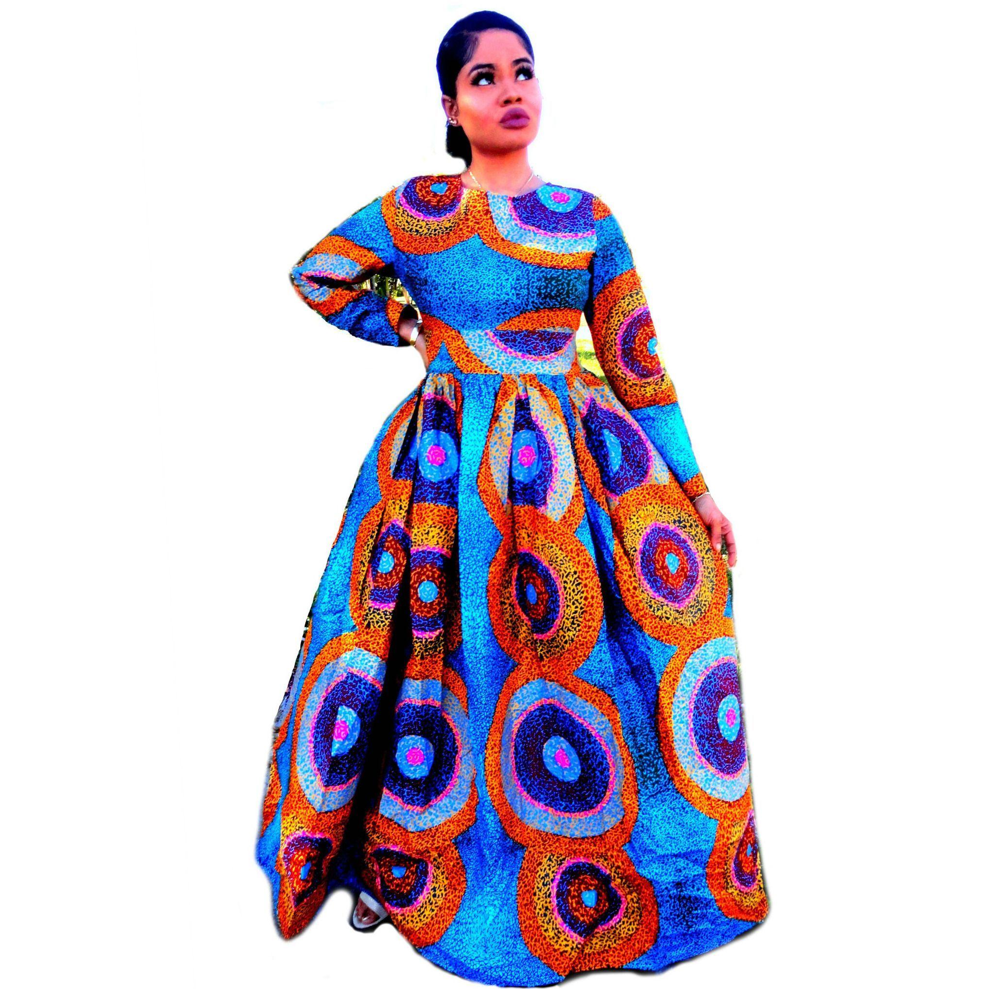 dbb82377767 JUJU African Print Long Sleeve Maxi Dress - Zabba Designs African Clothing  Store - 1