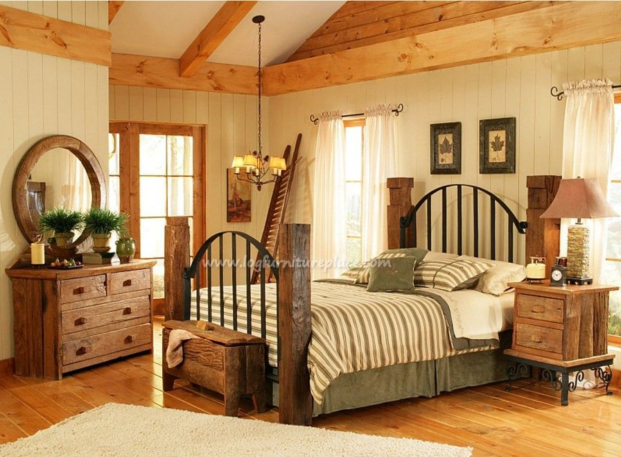 rustic log bedroom furniture log furniture bed reclaimed wood rh pinterest com