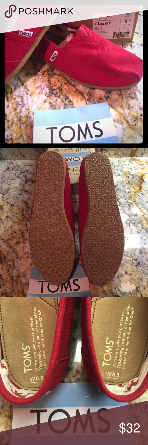 NWT Red Canvas Toms 😊 NWT-Never Worn-Box and sticker included Red Canvas Toms. Open to offers😊 TOMS Shoes