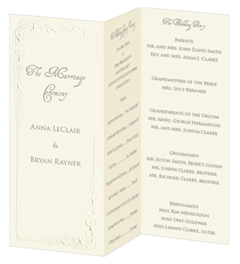 Calla Lily Trifold Wedding Program - Ecru - tri-fold wedding ...