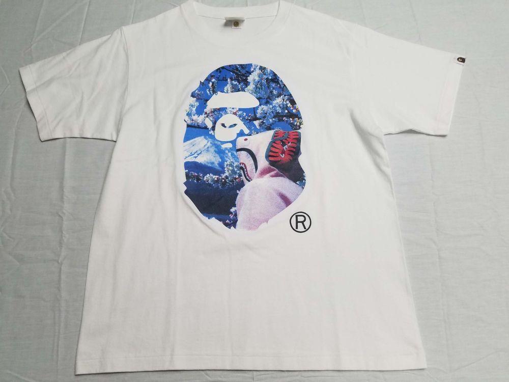 2f373f3c9 A Bathing Ape Bape Sakura Ape Head Photo Tee T Shirt Large White #fashion #