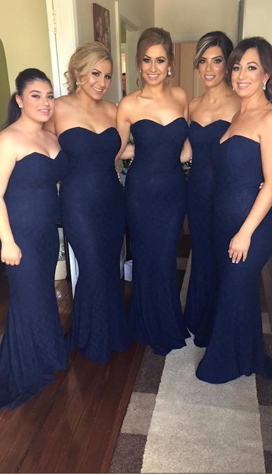 8a8a20691a Sexy Mermaid Lace Bridesmaid Dresses Navy Blue vestido de madrinha ...