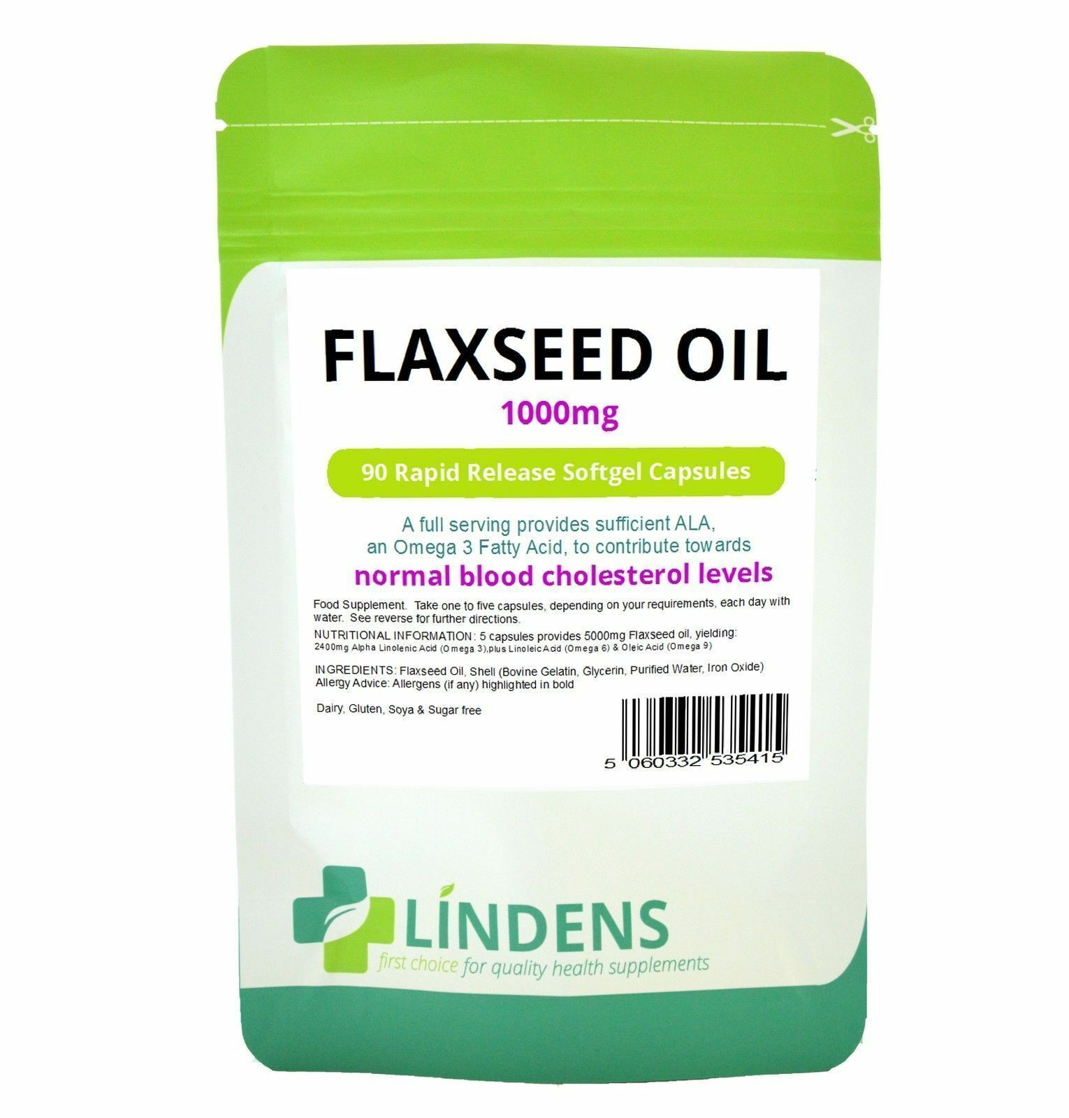Lindens Omega 3 6 And 9 Flaxseed Oil 90 Capsules 6 95 Free Uk