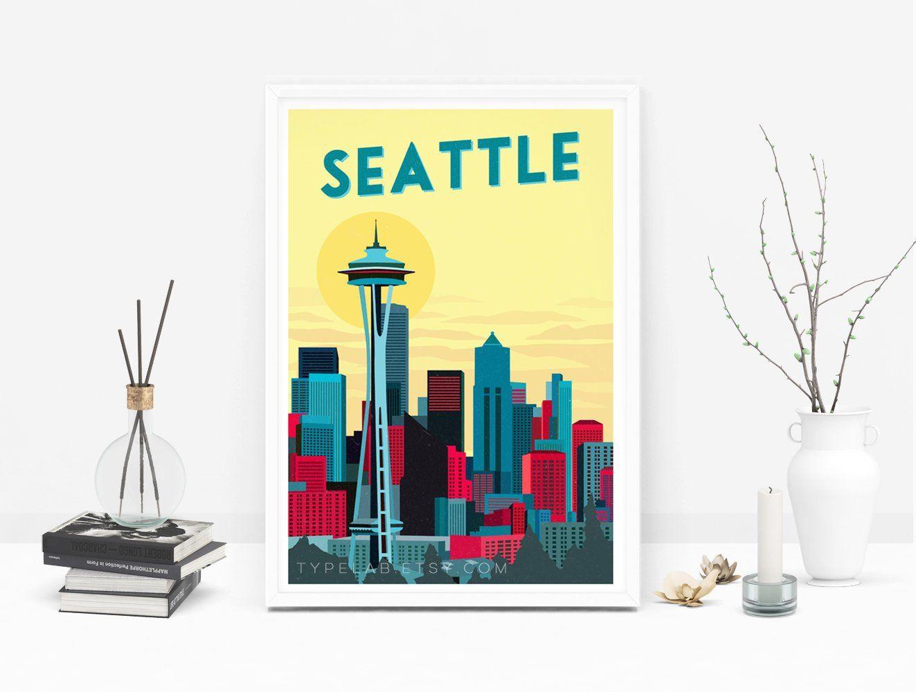 Seattle Washington Space Needle City United States Travel Art Poster Print