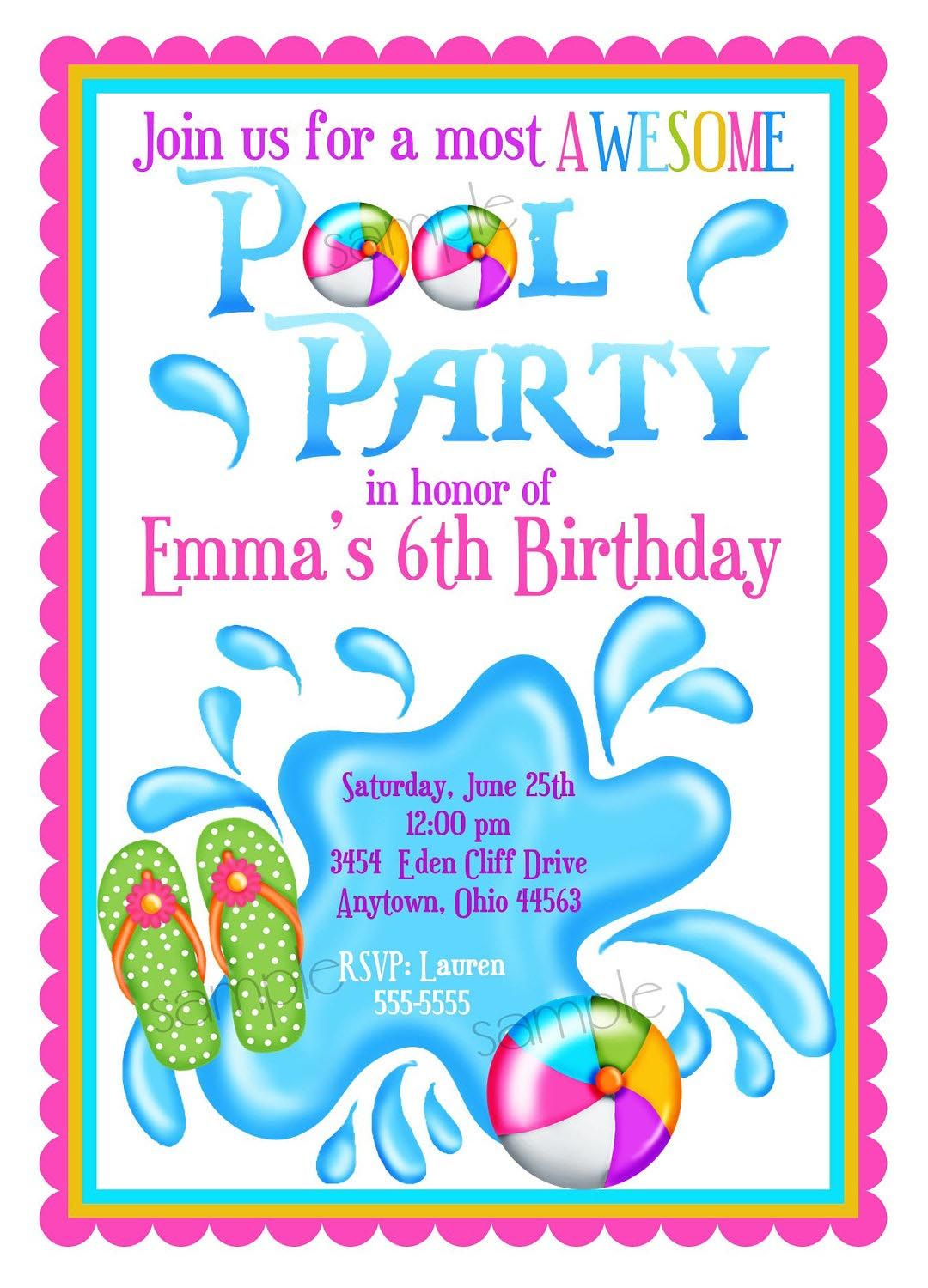 Kids Pool Party Invite Pool Party Pinterest Kid Pool Parties - Party invitation template: pool party invitations templates