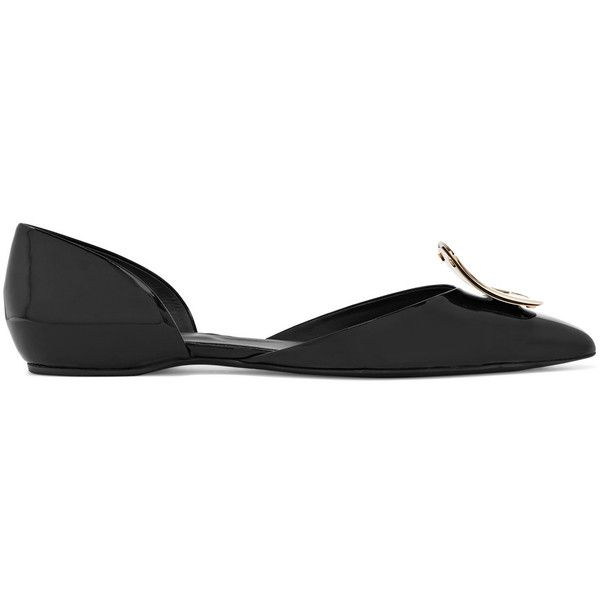 Roger Vivier Dorsay embellished patent-leather point-toe flats (5.555 NOK) ❤ liked on Polyvore featuring shoes, flats, black, evening shoes, pointed toe flats, roger vivier flats, black pointy toe flats and black pointed toe flats