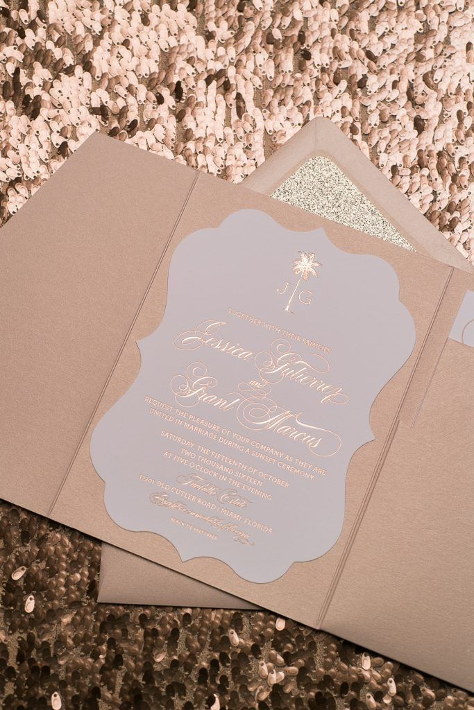Wedding Invitations Rose Gold Foil Rose Gold