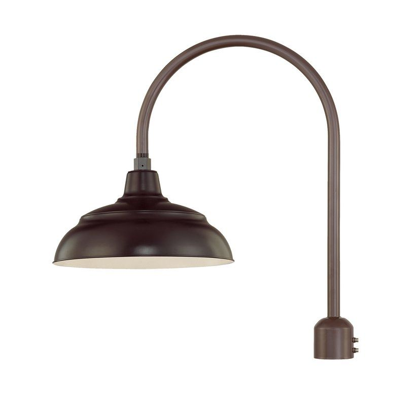 Millennium Lighting Rwhs14 Rpas Abr Architectural Bronze R Series 1 Light Post Light With Dark Sky Compliant 14 Warehouse Shade And Single Post Adapter Light Millennium Lighting Post Lights Wall Mount Light Dark sky compliant lighting
