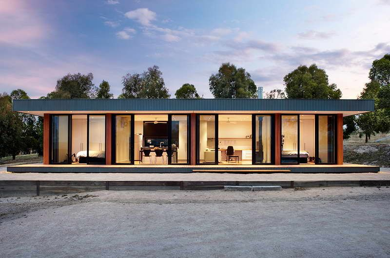 Contemporary modular homes with glass walls kelly lot for Mid century modern prefab homes