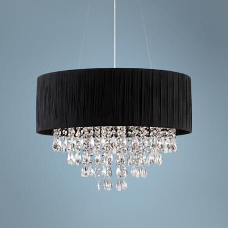 Add Elegance And Luxury With The Sparkling Crystal Of This Sheer Black  Fabric Drum Shade Pendant