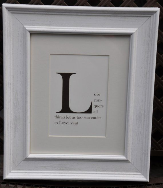 Framed Monogram Quote Print Letter L CHOOSE YOUR QUOTE