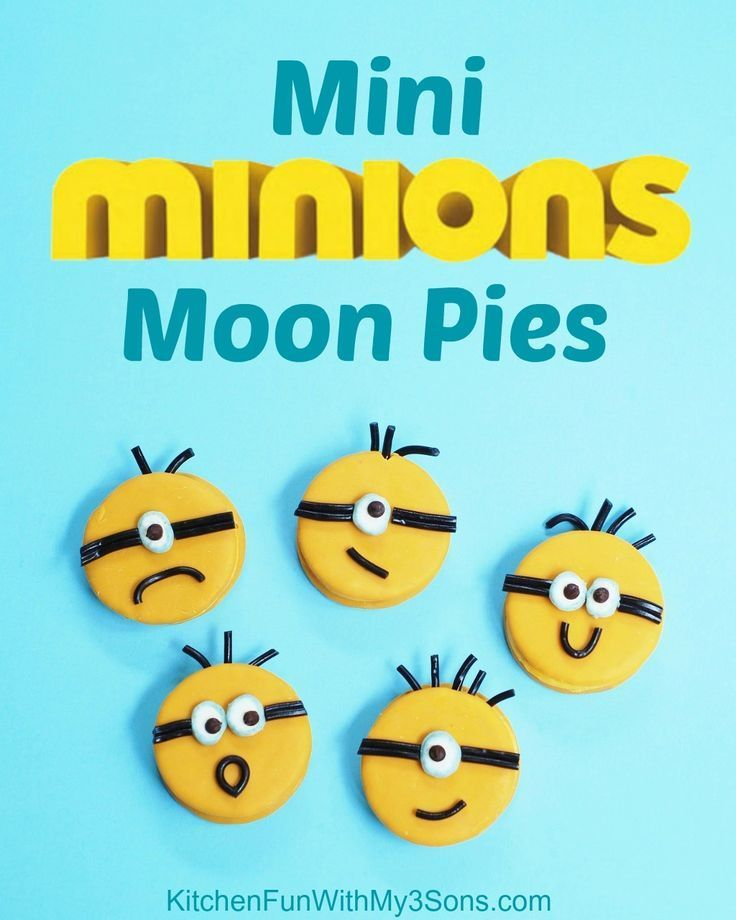 Mini Minion Moon Pies! These take just a few minutes to make...so easy from KitchenFunWithMy3Sons.com