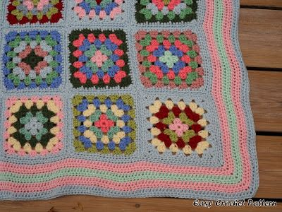 Easy Crochet Pattern: Granny Square Blanket Finish | granny ...